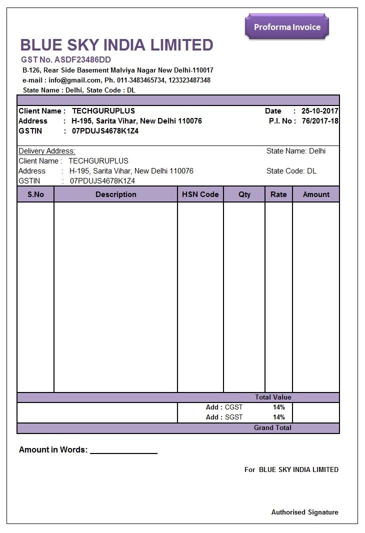 2 Proforma Invoice Format in Excel GST